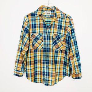 VINTAGE Plaid Oversized Button Down Shirt L Retro